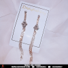Silver shimmery long light weighted earring